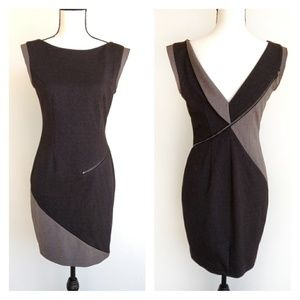 Stella & Jamie Black Gray Fitted Zipper Dress